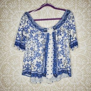 Lucky Brand Blue Floral Boho Top 1X